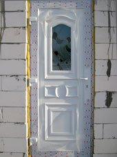 Входные двери витраж рубин